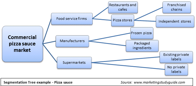 An example of a market segmentation tree for a business market, using pizza sauce